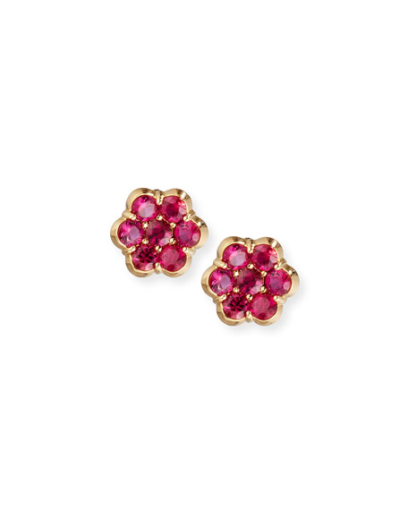 18K Gold & Ruby Floral Stud Earrings