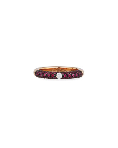 18k Rose Gold Ring w/ Rubies & Diamonds, Size 9.25