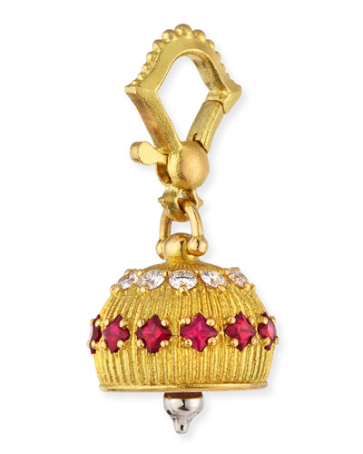 18k Diamond/Ruby Meditation Bell Pendant  12mm