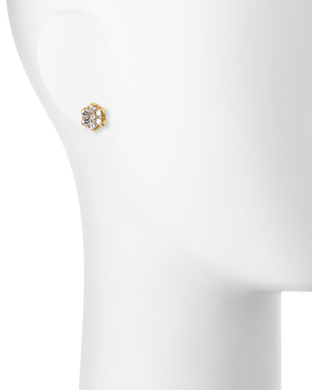 18K Gold & Diamond Floral Stud Earrings