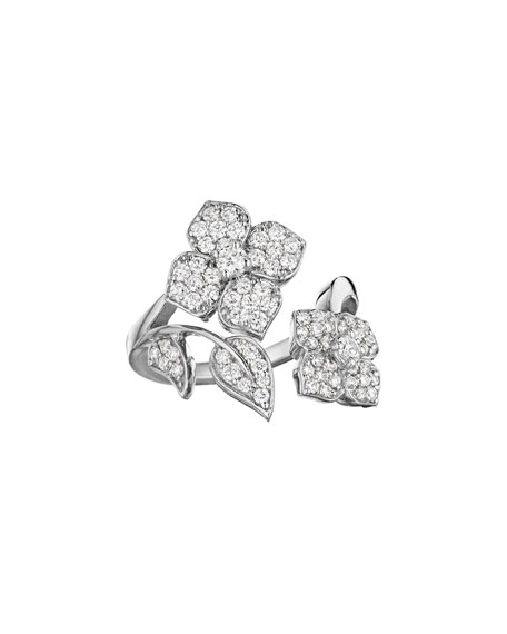 Penny Preville 18k White Gold Pave Diamond Flower-Wrap