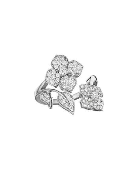 18k White Gold Pavé Diamond Flower-Wrap Ring, Size 6