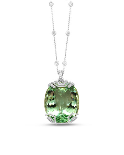 18K White Gold & Green Beryl Pendant Necklace with Diamonds