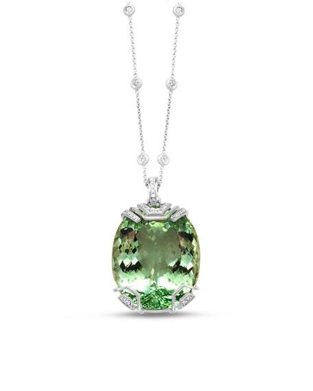 18K White Gold & Green Beryl Pendant Necklace with Diamonds
