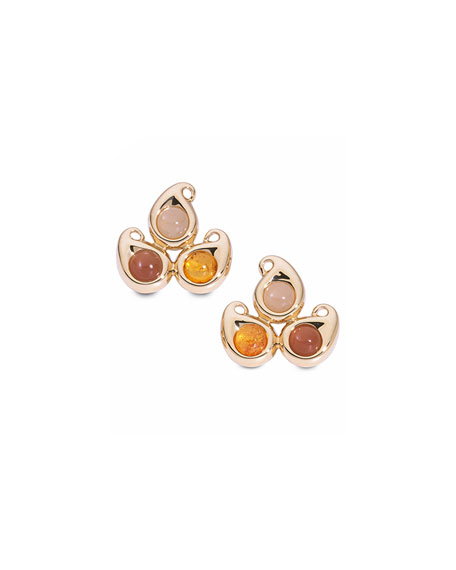Paisley Moonstone Button Earrings in 18K Rose Gold