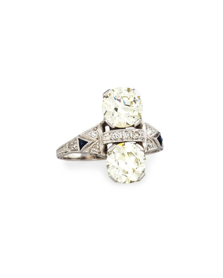 Estate Art Deco Two-Stone Diamond Dinner Ring