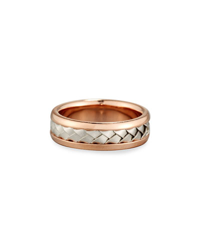 Gents Center Weave Wedding Band Ring in 18K Rose Gold & Platinum  Size 9.5
