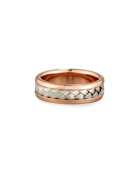 Gents Center Weave Wedding Band Ring in 18K Rose Gold & Platinum, Size 9.5