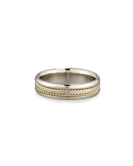 Eli Jewels Gents Simple Wedding Band Ring in Platinum & 18K Gold, Size 10
