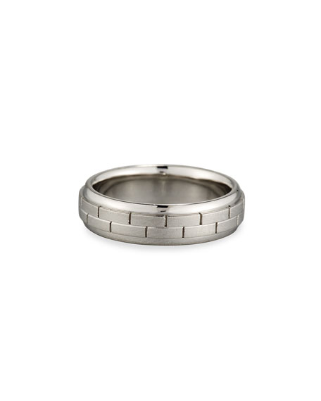 Gents Brick Pattern Platinum Wedding Band Ring, Size 10