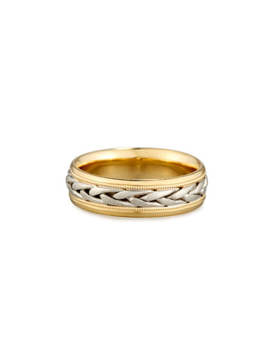 Gents Two-Tone Braided 18K Gold Wedding Band Ring, Size 10