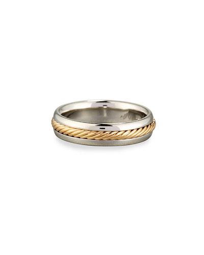 Gents Braided Platinum & 18K Gold Wedding Band Ring  Size 10