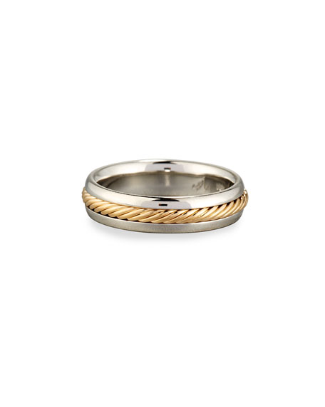 Gents Braided Platinum & 18K Gold Wedding Band Ring