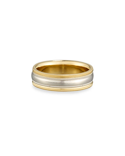 Gents Simple Wedding Band Ring in Platinum & 18K Gold, Size 10