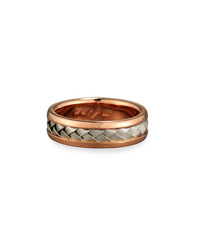 Gents Center Weave Wedding Band Ring in Brushed Rose Gold & Platinum  Size 10.5