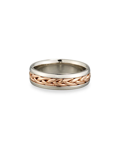 Gents Braided 18K Rose Gold & Platinum Wedding Band Ring, Size 10.5