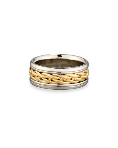 Gents Woven Platinum & 18K Gold Wedding Band Ring  Size 10