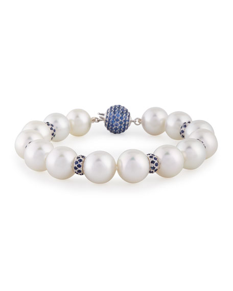 Belpearl South Sea Pearl Bracelet with Blue Sapphires & Diamonds in 18K White Gold ek7ouzj7lm