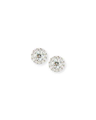 Round Diamond Earrings with Diamond Halo in 18K White Gold