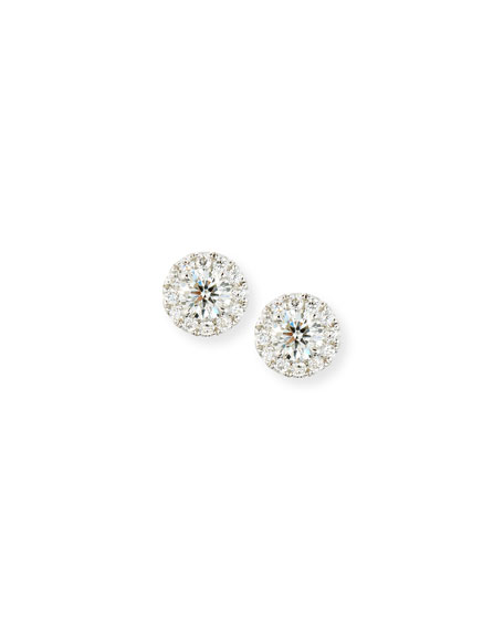 Round Diamond Earrings with Diamond Halo in 18K White Gold