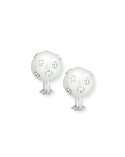 South Sea Pearl & Bezel-Set Diamond Button Clip Earrings