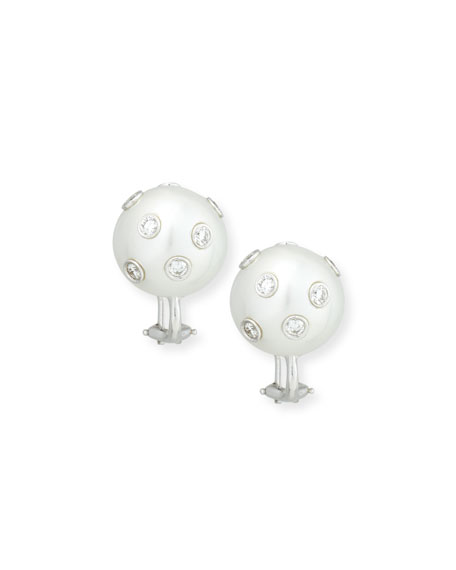 South Sea Pearl & Bezel-Set Diamond Button Clip Earrings