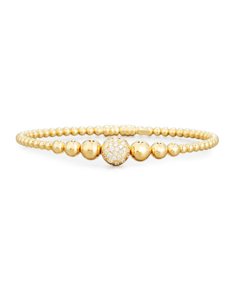 Graduated 18K Yellow Gold Bead Bracelet with White Diamonds