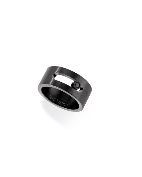 Men's Move Titanium Band Ring with Black Diamond, Size 64
