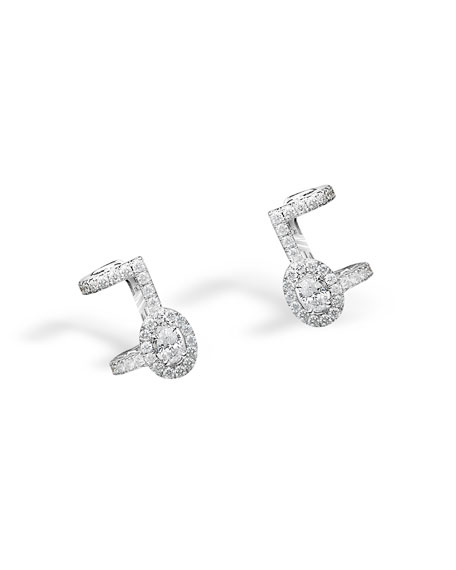 Amazone Pavé Diamond Cuff Earrings in 18K White Gold