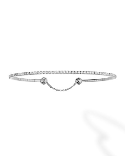 Skinny Diamond Chain Bracelet in 18K White Gold