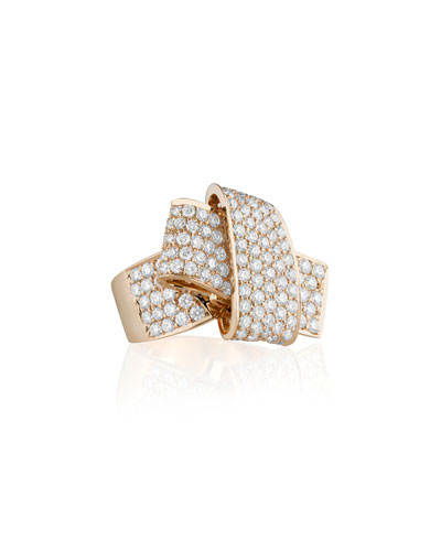 Jumbo 18K Rose Gold & Pave Diamond Knot Ring, Size 7