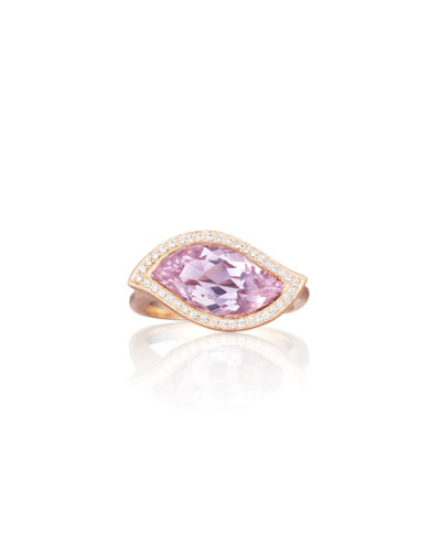 18K Rose de France Amethyst Leaf Ring with Diamonds, Size 7