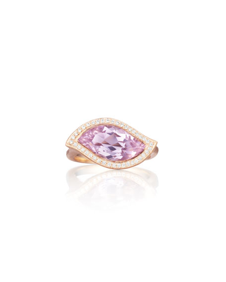 18K Rose de France Amethyst Leaf Ring with Diamonds, Size 7