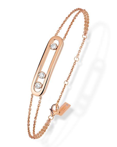 Move Pavé Diamond Two-Strand Chain Bracelet in 18K Rose Gold