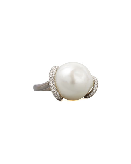 Eli Jewels White Keshi Pearl and Diamond Ring