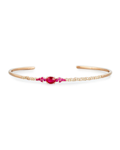 Brown Diamond & Ruby Oval Bracelet in 18K Rose Gold