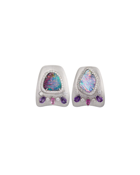 Opal & Diamond Huggie Earrings in 18K White Gold