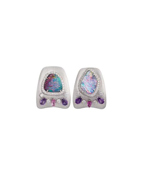 Opal & Diamond Huggie Earrings in 18K White Gold