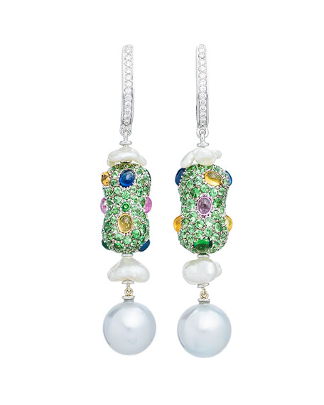 Linear Sapphire, Diamond & Baroque Pearl Drop Earrings in 18K White Gold