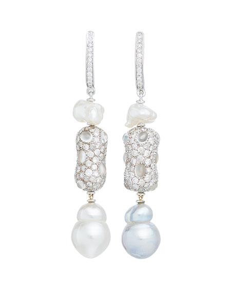 Linear Diamond & Baroque Pearl Drop Earrings in 18K White Gold