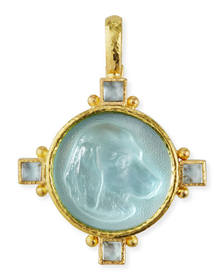 Hound Head Antique 19k Gold Intaglio Pendant, Light Aqua