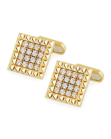 Square Diamond Cufflinks in 18K Yellow Gold