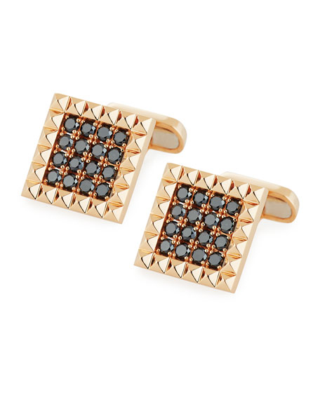 Square Rock & Diamonds Cufflinks in 18K Rose Gold