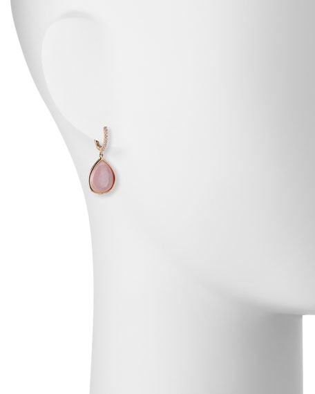Luna Pink Mother-of-Pearl Earrings with Diamonds in 18K Pink Gold