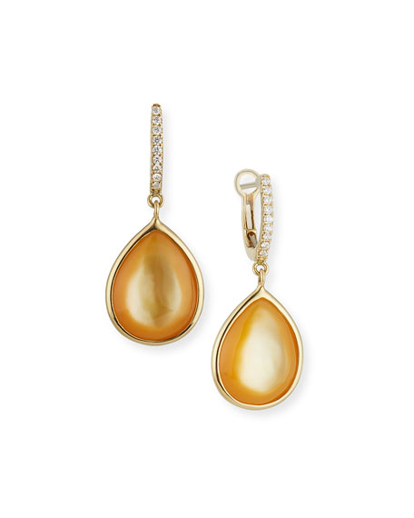 Luna Yellow Mother-of-Pearl Earrings with Diamonds in 18K White Gold