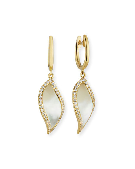 Venus Curved Leaf Mother-of-Pearl Earrings with Diamonds in 18K Yellow Gold