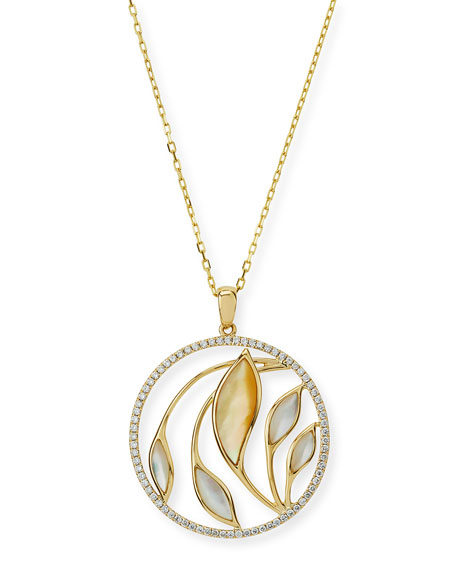 Medium Venus Garden Mother-of-Pearl Pendant Necklace with Diamonds in 18K Yellow Gold