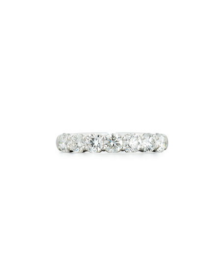 Half-Diamond Band Ring in 18K White Gold, 1.47 tdcw, Size 6.75