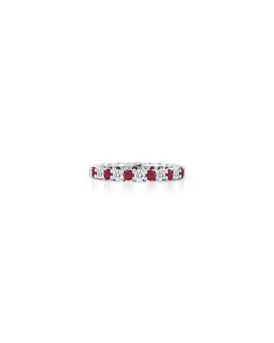 Ruby & Diamond Eternity Band in Platinum, Size 6.5