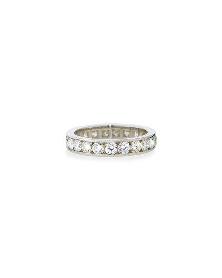 Channel-Set Diamond Eternity Band Ring in Platinum, 2.42 tdcw, Size 7